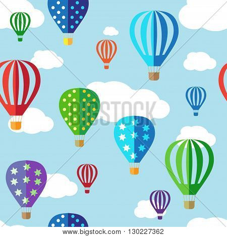 Seamless vector background with colorful hot air balloons on the blue sky. Seamless pattern, background, vector texture