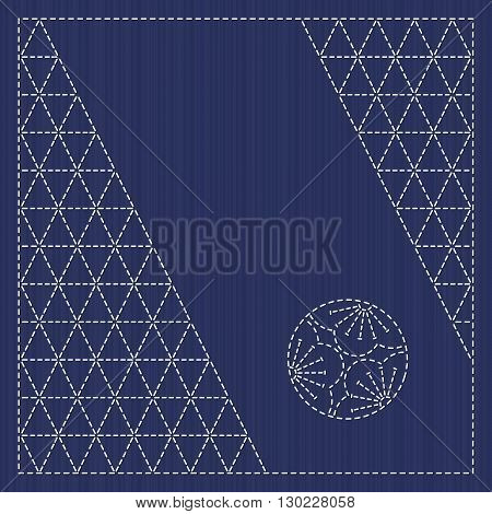 Japanese ornament card. Text frame. Sashiko serviette with plum flower motif. Stitching backdrop. Antique japanese fancywork. Simple floral motif - ume. Can be used as seamless pattern.