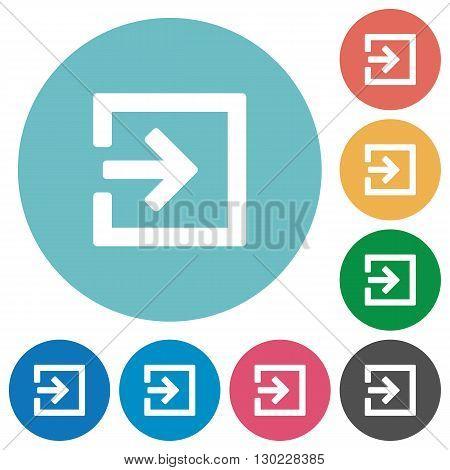 Flat import icon set on round color background.