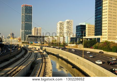 TEL AVIV, ISRAEL - MAY 26: Modern cityscape with Ayalon highway view on May 26, 2016 in Tel Aviv.