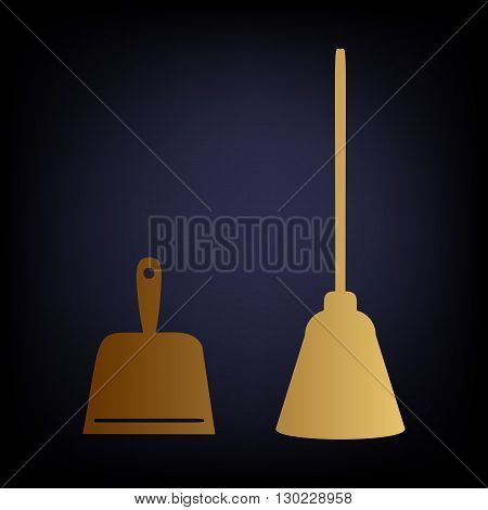 Dustpan vector icon. Scoop for cleaning garbage housework dustpan equipment. Golden style icon on dark blue background.