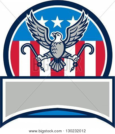 Illustration of an american bald eagle looking to the side clutching towing j hook with its talon viewed from front set inside circle and banner in bottom with usa stars and stripes flag in the background done in retro style.