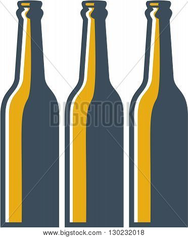 Illustration of three beer bottles long neck bottles viewed from front set on isolated white background done in retro style.