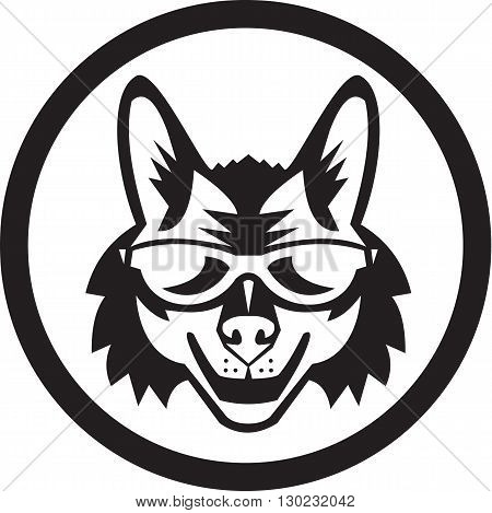 Illustration of a coyote wolf wearing sunglasses viewed from front set inside circle on isolated background done in retro style.