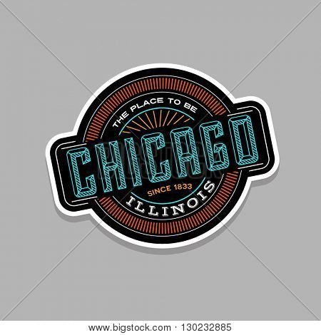chicago, illinois linear emblem design for t shirts and stickers