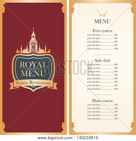 Royal menu with a picture of the British Parliament and Big Ben