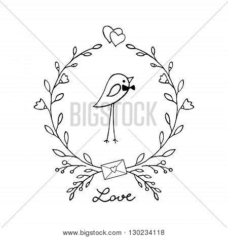 Cute bird with a flower wreath. Vector illustration.