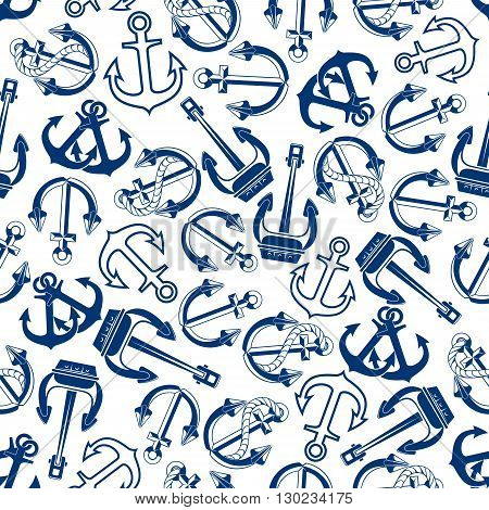 Blue nautical anchors pattern with seamless sketches of marine ships admiralty and heavy stockless anchors with ropes over white background. Great for sea club and sailing sport theme design usage