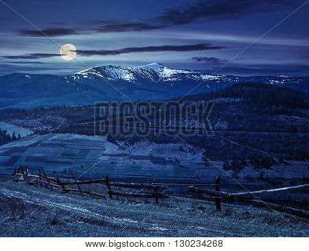 Rural Area With Snowy Mountain Tops At Night