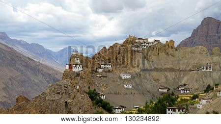 Panorama of the Dhankar monastery on the abrupt slopes of Himalayas in the Spiti valley in north India
