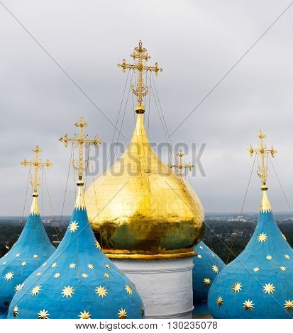 Domes of the Cathedral of the Assumption of Blessed Virgin Mary at Holy Trinity Saint Sergius (Sergiev Posad Russia).