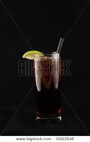 red hard liquer coctail with lime decoration poster