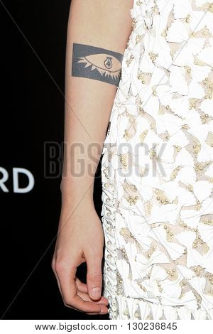 NEW YORK-JAN 5: A tattoo on the right forearm of actress Kristen Stewart at the 2015 National Board of Review Gala at Cipriani 42nd Street on January 5, 2016 in New York City.