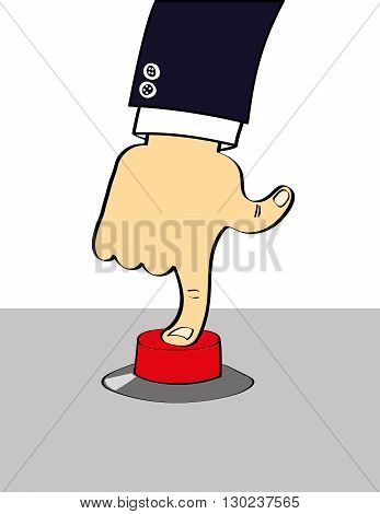 Arm and hand of a person in a suit pressing their index finger down on a big red button in a control panel