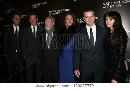 NEW YORK-JAN 5:(L-R)Michael Schaefer, Simon Kinberg, Ridley Scott, Giannina Facio, Matt Damon &Luciana Damon at 2015 National Board of Review at Cipriani 42 Street on January 5, 2016 in New York City.