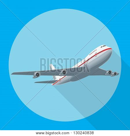 Aircraft flat design style Illustration. Airplane flying with shadow