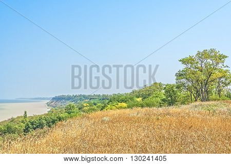 Picturesque steep bank of the gulf on a sunny summer day poster