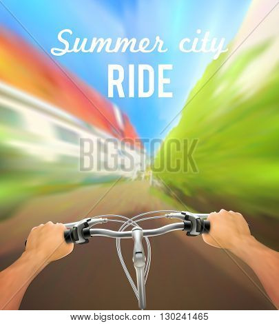 Handlebar colored poster with man on bike rides in the city and description summer city ride vector illustration