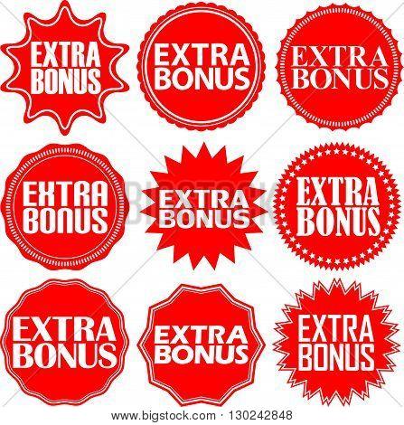 Extra Bonus Red Label. Extra Bonus Red Sign. Extra Bonus Red Banner. Vector Illustration