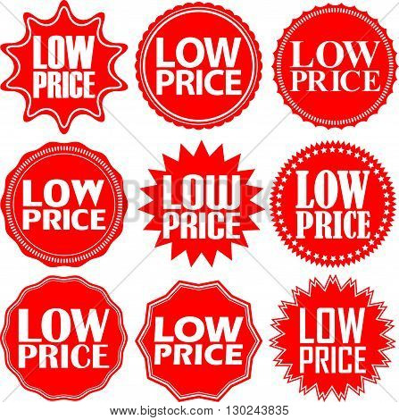 Low Price Red Label. Low Price Red Sign. Low Price Red Banner. Vector Illustration