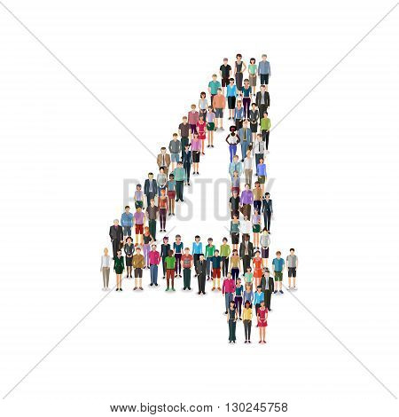 Large group of people foming number 4 on white background: different casual people collection