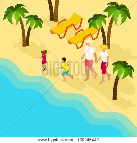 Elderly retired couple with grandchildren at the tropical beach isometric banner family vacation abstract vector illustration