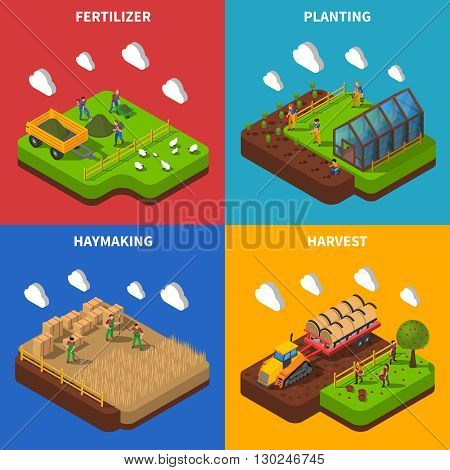 Farmer Isometric Concept.Farmer  Icons Set. Farmer Vector Illustration. Farmer And Village Symbols. Farmer And Countryside Design Set. Farmer Elements Collection.