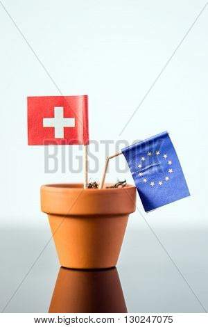 Plant Pot With European And Swiss Flag