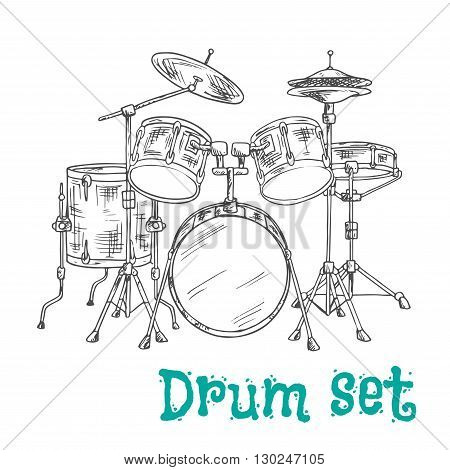 Sketched five piece drum set symbol of modern percussion instrument with bass drum and tom toms in the center of kit, snare and floor drums on both sides, supplemented by crash and hi hat cymbals