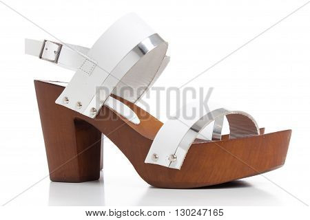 Woman White Leather Sandals,women's Neutral Suede Wedge Sandals Isolated On White, Get Ready For You
