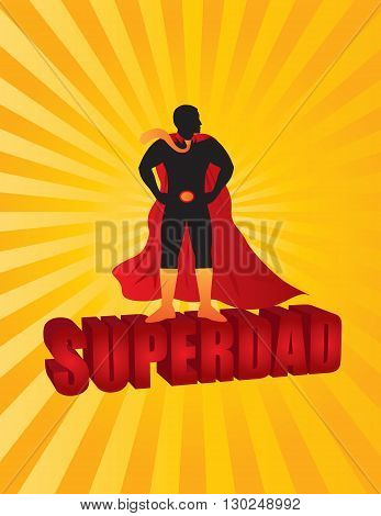 Happy Father's Day Super Dad 3D Text Superhero Silhouette Outline Color on Sun Rays Background Illustration