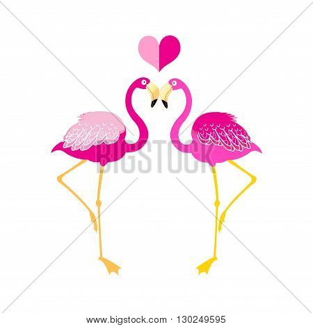 Graphics flamingo lovers on a white background