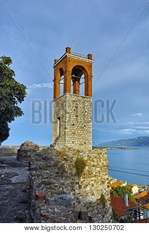 Clock tower in Nafpaktos town, Western Greece