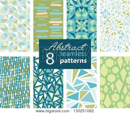 Set Of 8 Vector Abstract Shapes Green Blue Seamless Repeat Patterns With Triangles, Arrows, Dots In Matching Prints. Perfect for scrapbooking, wallpaper, bedding, furniture, packaging.Textile design and surface pattern graphic design set.