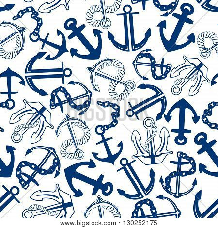Retro marine anchors with chains and ropes seamless pattern for nautical adventure or vacation themes design with blue admiralty and stockless anchors over white background