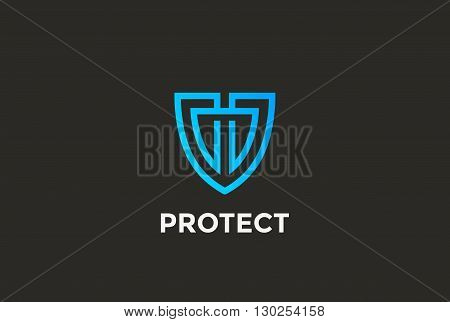 Security Agency Logo vector linear style Looped Lawyer icon
