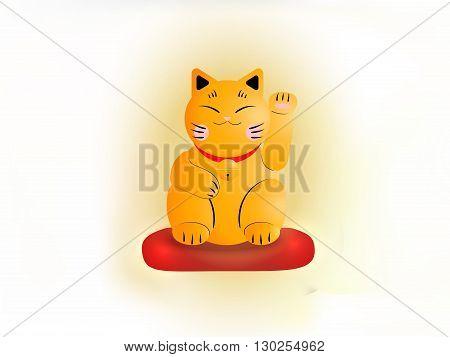 Yellow Cat Maneki Neko On A Red Pillow