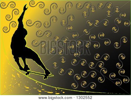 Skateboarding On Abstract Background - Vector Illustration