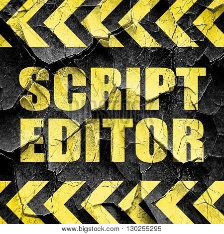 script editor, black and yellow rough hazard stripes