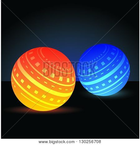 Orange and blue glowing designed orbs with gradient background