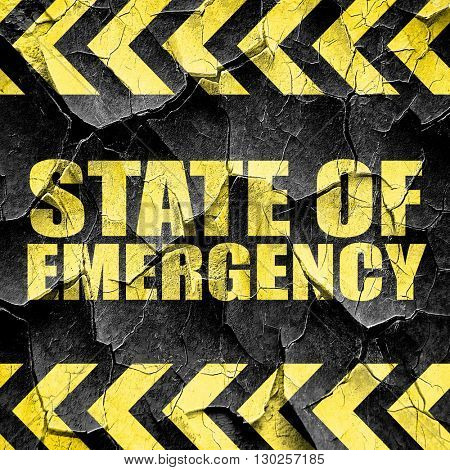 state of emergency, black and yellow rough hazard stripes