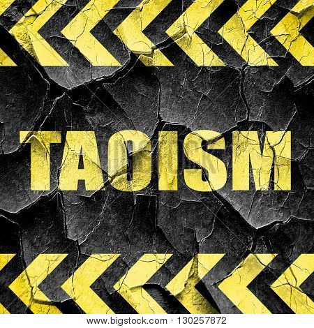 taoism, black and yellow rough hazard stripes