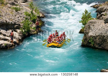 Green Canyon, Turkey - July 10, 2010: White Water Rafting On The Rapids Of River Manavgat On July 10