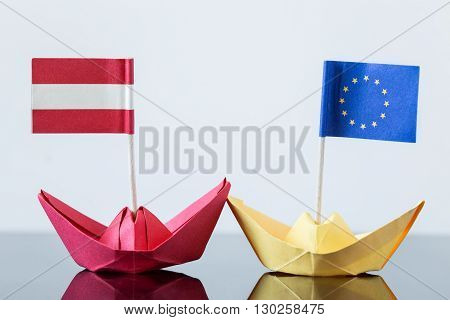 Paper Ship With Austrian And European Flag