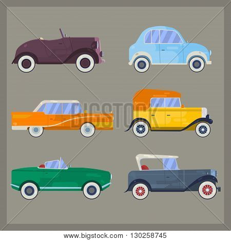 Vector retro cars, flat style. Set of vintage cars. Classic cars. Old cars.Retro luxury cars. Set of the icons in vector. Flat style retro cars. Big set of classical cars.