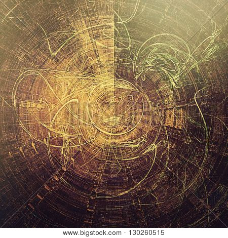 Spherical vintage texture, old style frame decoration with grunge graphic elements and different color patterns: yellow (beige); brown; green; gray; purple (violet)