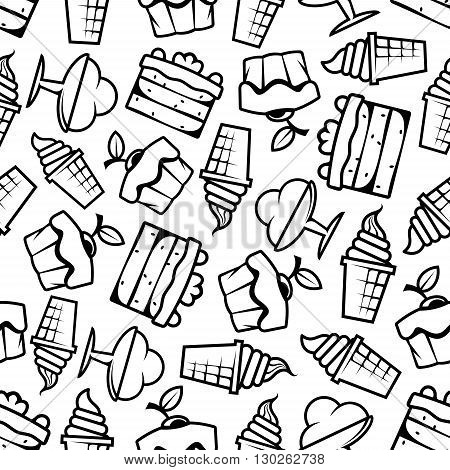 Sweet desserts background with black and white sketched seamless pattern of ice cream cones and sundae desserts, tiered cakes and cupcakes, topped with fresh fruits and cream decorations