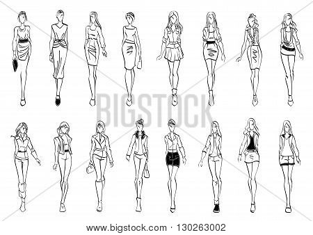 Black and white fashion models sketch icons with silhouettes of young women presenting stylish everyday clothes for office and leisure activity. Use as fashion show theme or shopping design