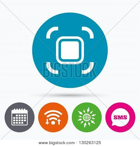 Wifi, Sms and calendar icons. Autofocus zone sign icon. Photo camera settings. Go to web globe.