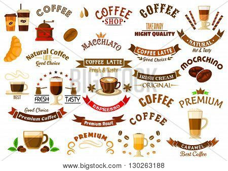 Coffee shop and cafe design elements with retro icons of cups with various coffee drinks and takeaway cups with decaf, coffee beans, grinder and pots, ribbon banners and stars, crowns and pastries